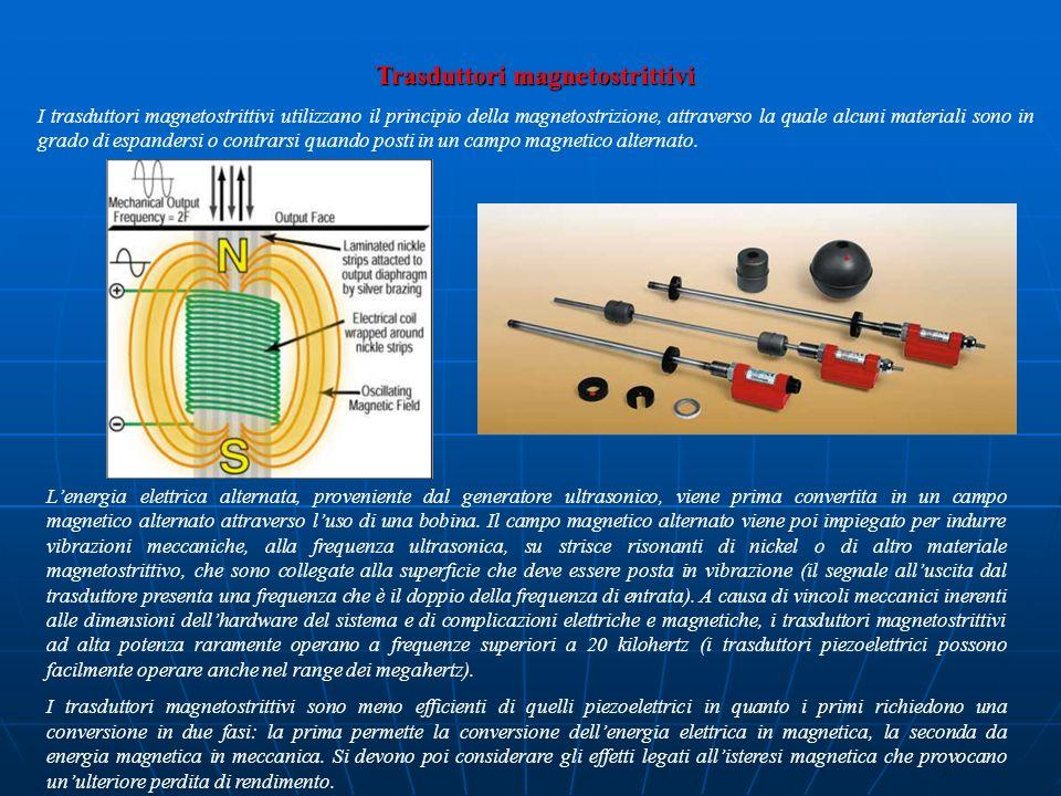 Trasduttori magnetostrittivi I trasduttori magnetostrittivi utilizzano il principio della magnetostrizione, attraverso la quale alcuni materiali sono