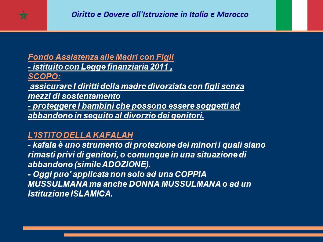 Fondo Assistenza alle Madri con Figli - istituito con Legge finanziaria 2011, SCOPO: assicurare I diritti della madre divorziata con figli senza mezzi