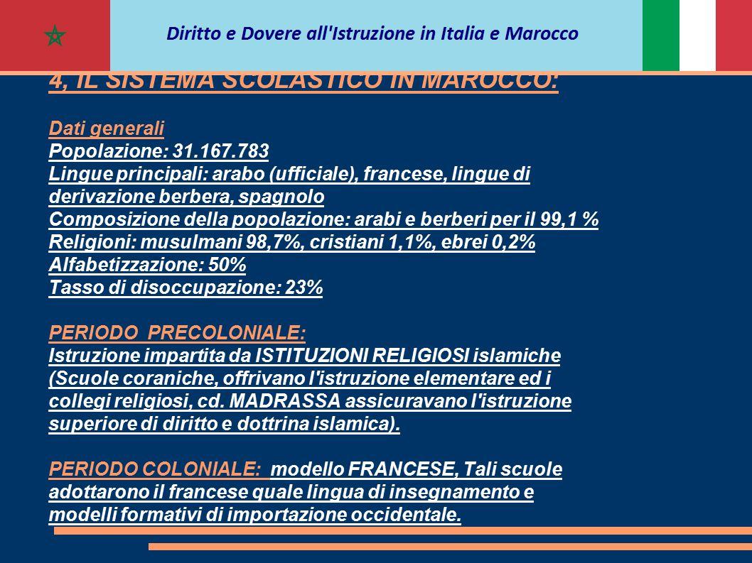 4, IL SISTEMA SCOLASTICO IN MAROCCO: Dati generali Popolazione: 31.167.783 Lingue principali: arabo (ufficiale), francese, lingue di derivazione berbe