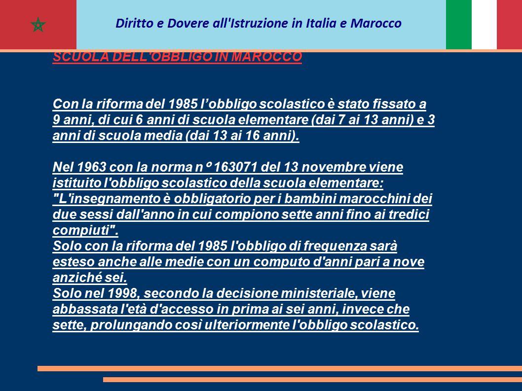 SCUOLA DELL'OBBLIGO IN MAROCCO Con la riforma del 1985 l'obbligo scolastico è stato fissato a 9 anni, di cui 6 anni di scuola elementare (dai 7 ai 13