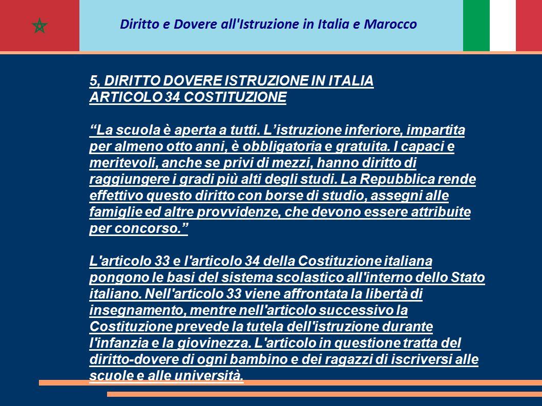 """5, DIRITTO DOVERE ISTRUZIONE IN ITALIA ARTICOLO 34 COSTITUZIONE """"La scuola è aperta a tutti. L'istruzione inferiore, impartita per almeno otto anni, è"""