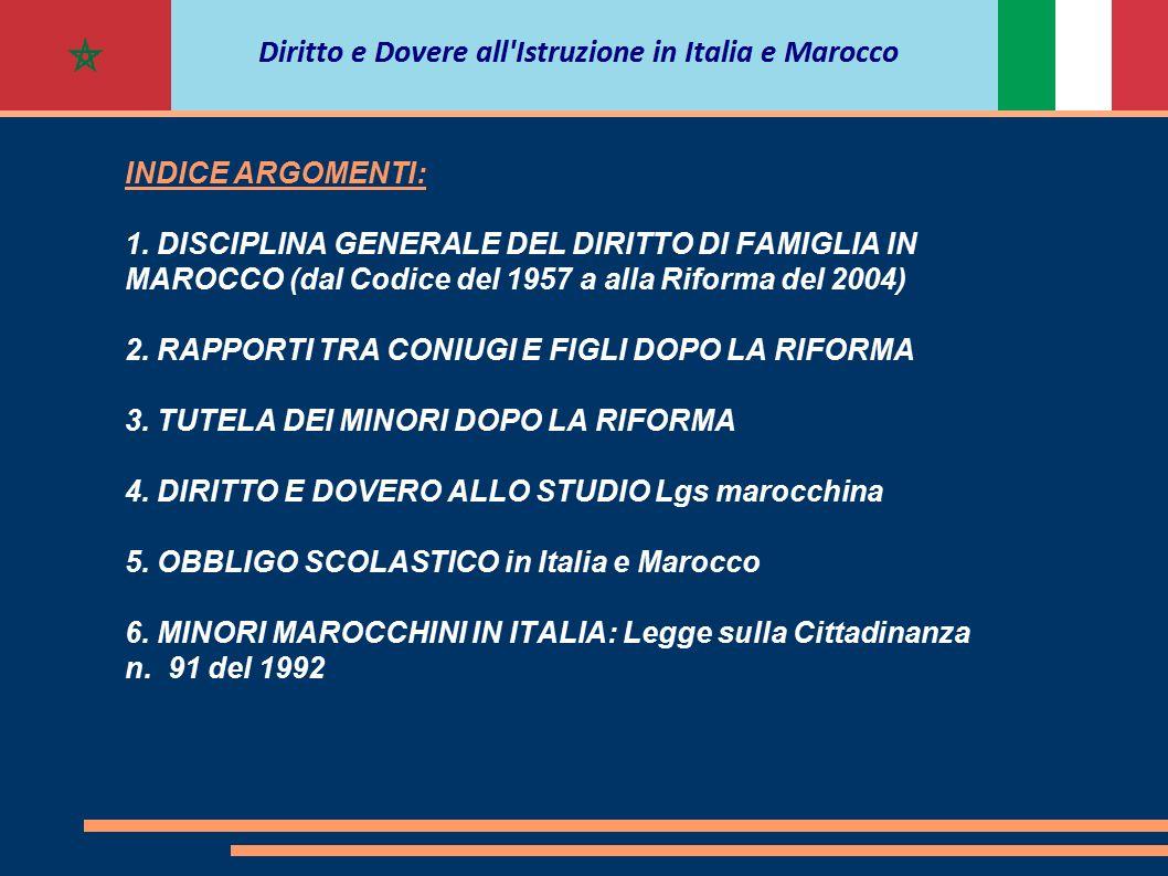 INDICE ARGOMENTI: 1. DISCIPLINA GENERALE DEL DIRITTO DI FAMIGLIA IN MAROCCO (dal Codice del 1957 a alla Riforma del 2004) 2. RAPPORTI TRA CONIUGI E FI