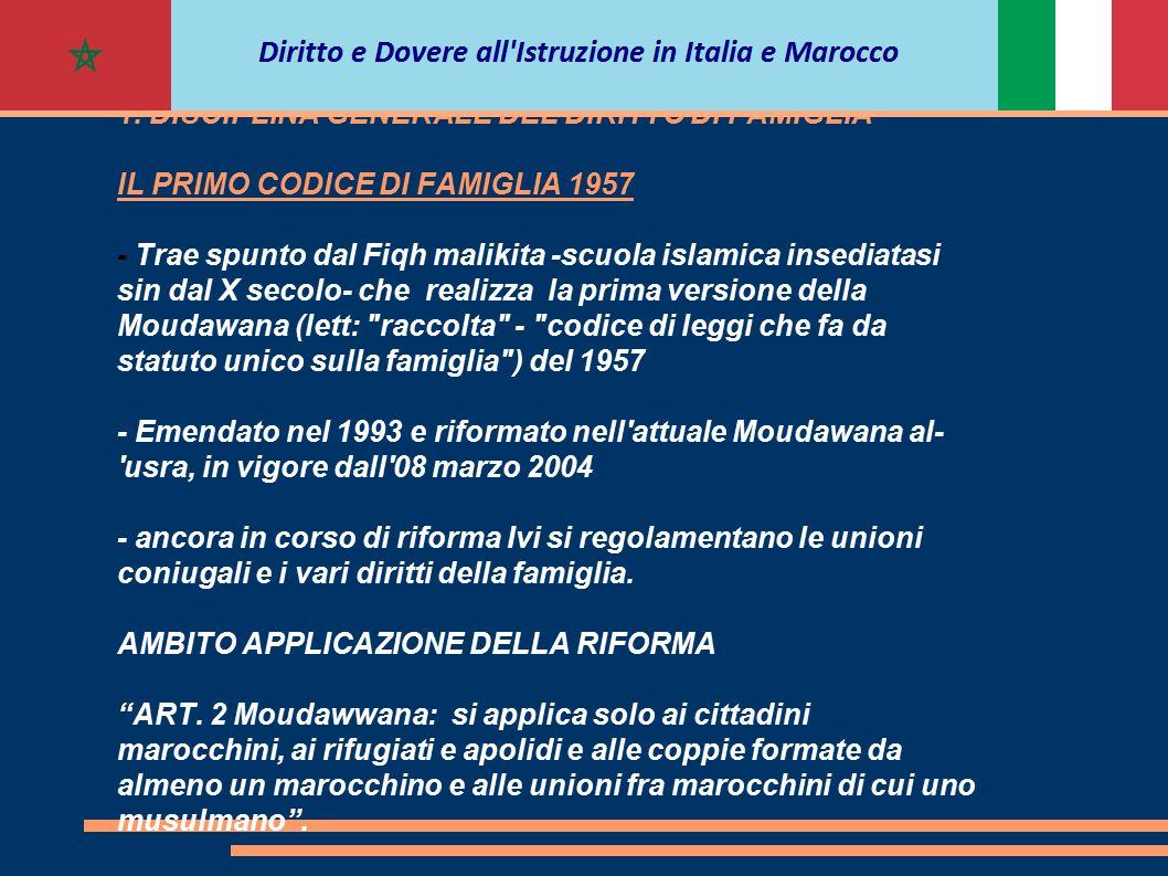 IL CODICE DI FAMIGLIA IN MAROCCO I RAPPORTI TRA CONIUGI E FIGLI - Per la DISCIPLINA GIURIDICA dei Minori in Marocco si fa riferimento al Codice di Famiglia.