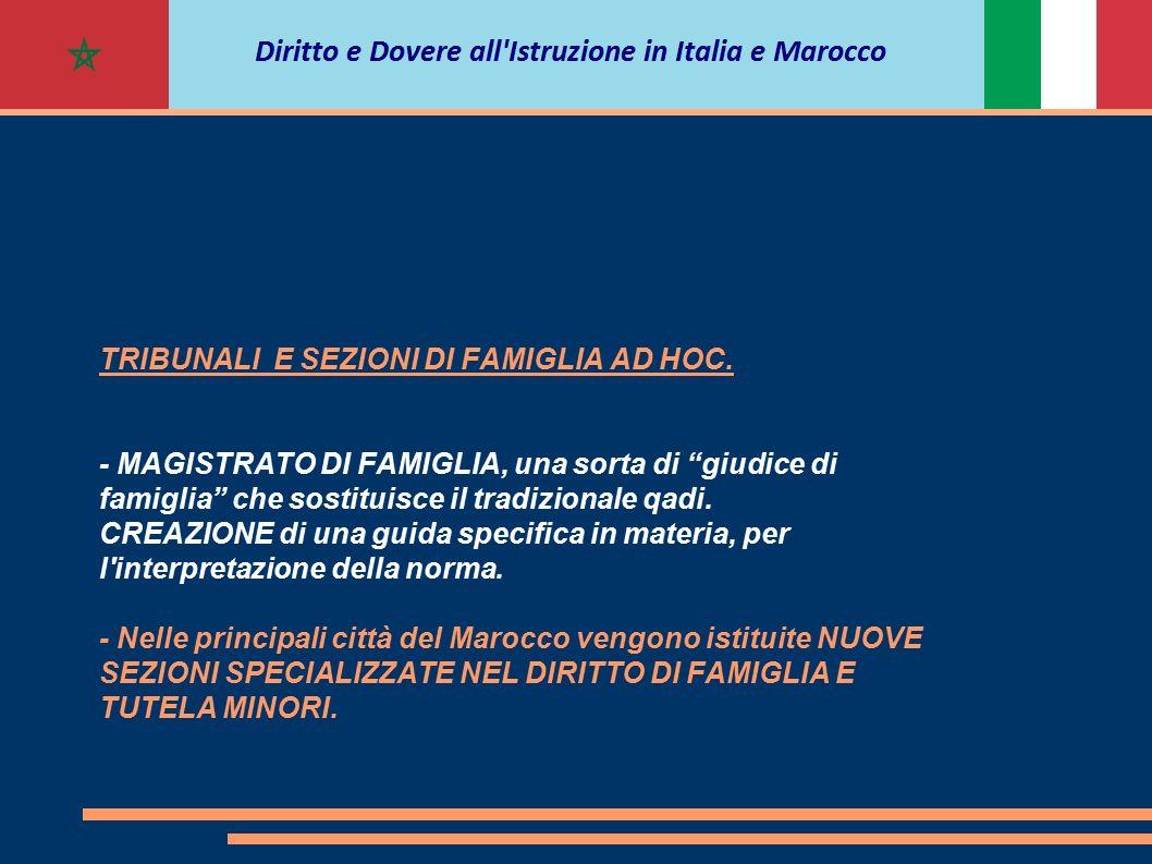"""TRIBUNALI E SEZIONI DI FAMIGLIA AD HOC. - MAGISTRATO DI FAMIGLIA, una sorta di """"giudice di famiglia"""" che sostituisce il tradizionale qadi. CREAZIONE d"""