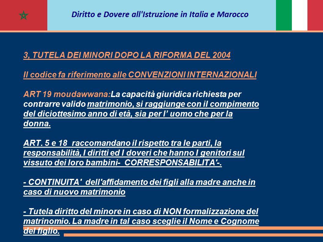3, TUTELA DEI MINORI DOPO LA RIFORMA DEL 2004 Il codice fa riferimento alle CONVENZIONI INTERNAZIONALI ART 19 moudawwana:La capacità giuridica richies