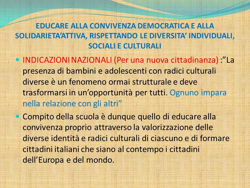 EDUCARE ALLA CONVIVENZA DEMOCRATICA E ALLA SOLIDARIETA'ATTIVA, RISPETTANDO LE DIVERSITA' INDIVIDUALI, SOCIALI E CULTURALI INDICAZIONI NAZIONALI (Per u