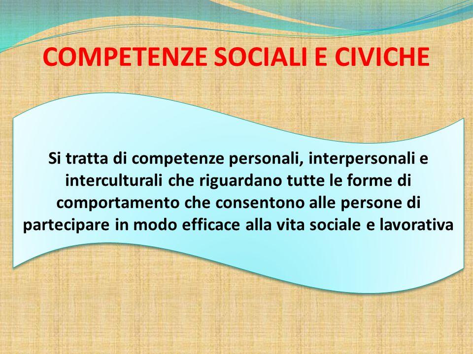 COMPETENZE SOCIALI E CIVICHE Si tratta di competenze personali, interpersonali e interculturali che riguardano tutte le forme di comportamento che con