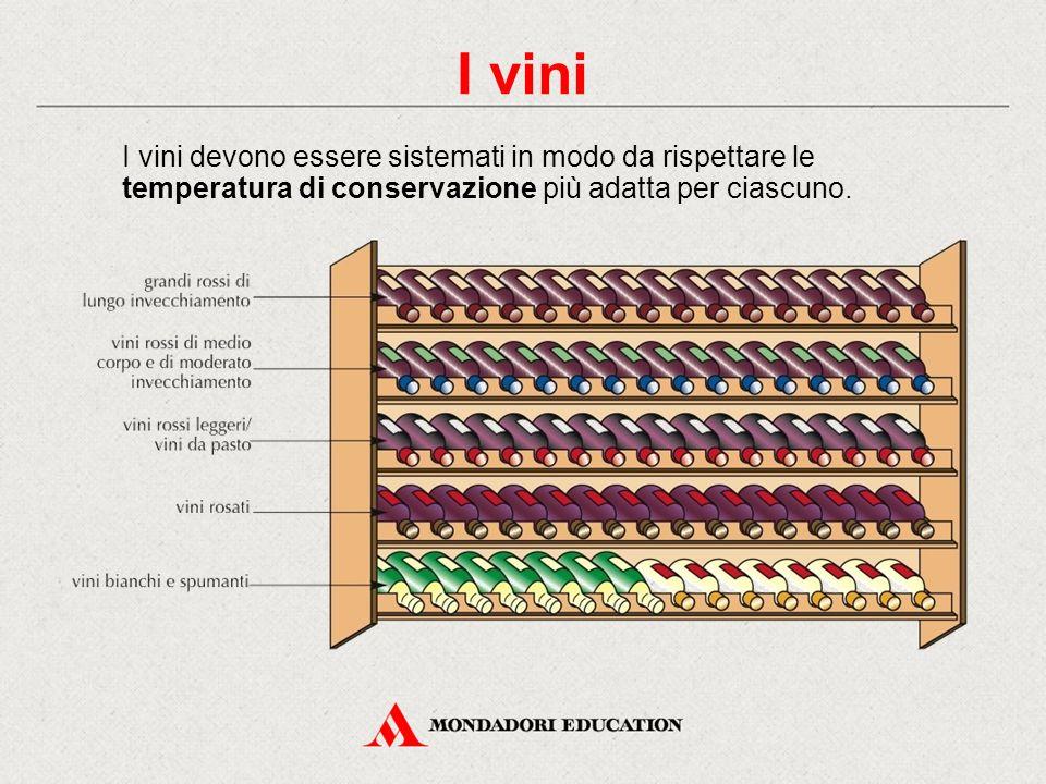I vini devono essere sistemati in modo da rispettare le temperatura di conservazione più adatta per ciascuno. I vini