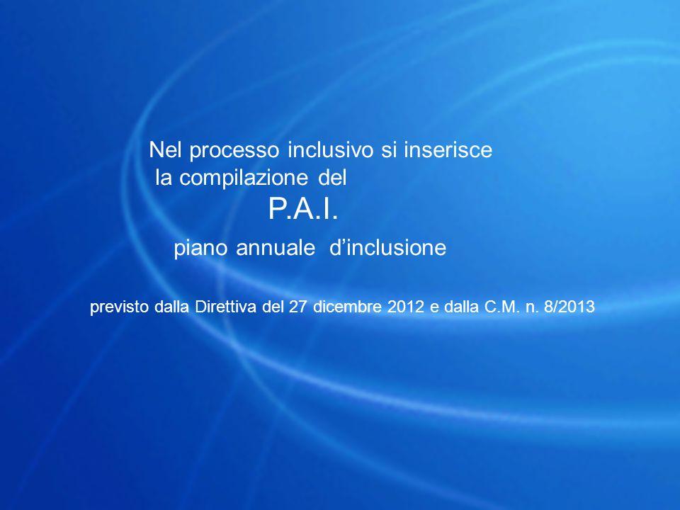 Nel processo inclusivo si inserisce la compilazione del P.A.I. piano annuale d'inclusione previsto dalla Direttiva del 27 dicembre 2012 e dalla C.M. n