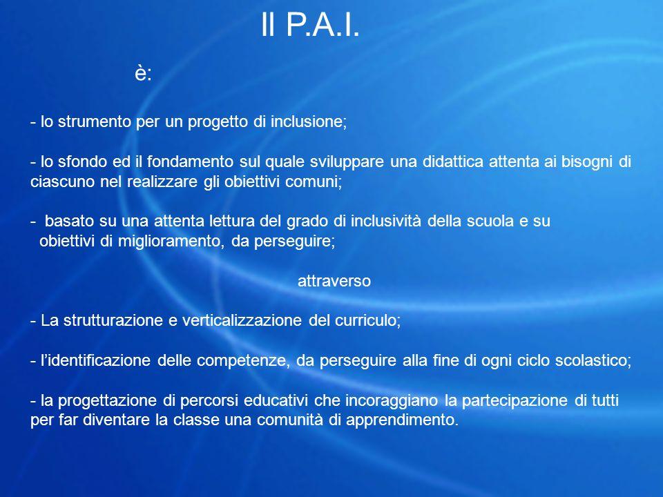 Il P.A.I. è: - lo strumento per un progetto di inclusione; - lo sfondo ed il fondamento sul quale sviluppare una didattica attenta ai bisogni di ciasc