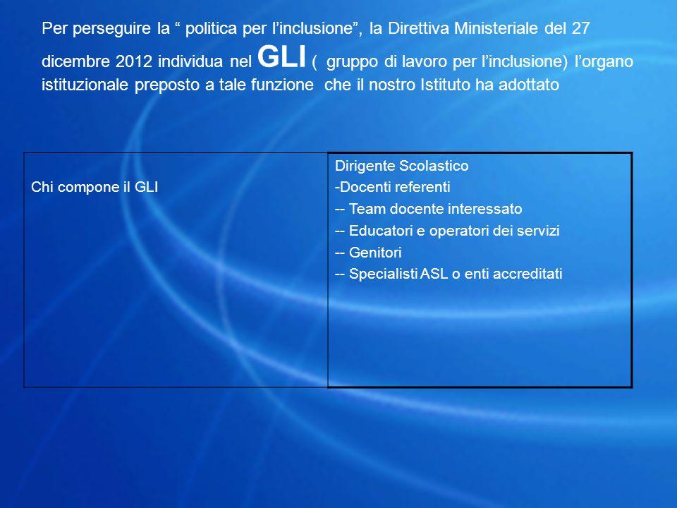 """Per perseguire la """" politica per l'inclusione"""", la Direttiva Ministeriale del 27 dicembre 2012 individua nel GLI ( gruppo di lavoro per l'inclusione)"""