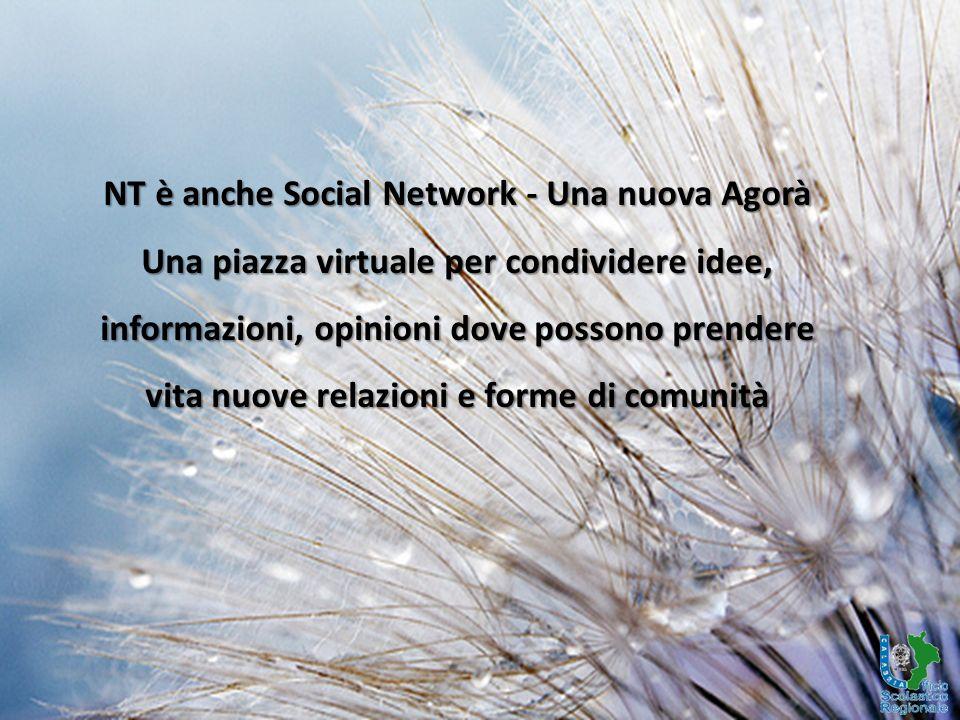 NT è anche Social Network - Una nuova Agorà Una piazza virtuale per condividere idee, informazioni, opinioni dove possono prendere vita nuove relazioni e forme di comunità