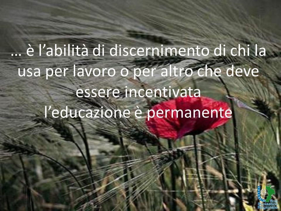 … è l'abilità di discernimento di chi la usa per lavoro o per altro che deve essere incentivata l'educazione è permanente