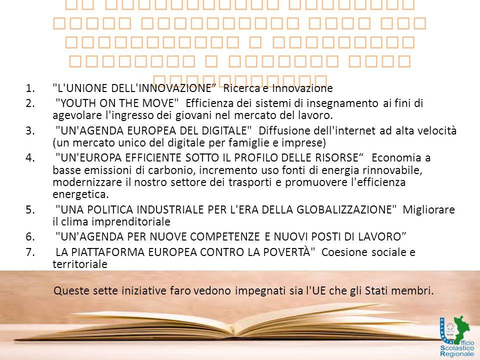 La Commissione presenta sette iniziative faro per catalizzare i progressi relativi a ciascun tema prioritario 1. L UNIONE DELL INNOVAZIONE Ricerca e Innovazione 2.