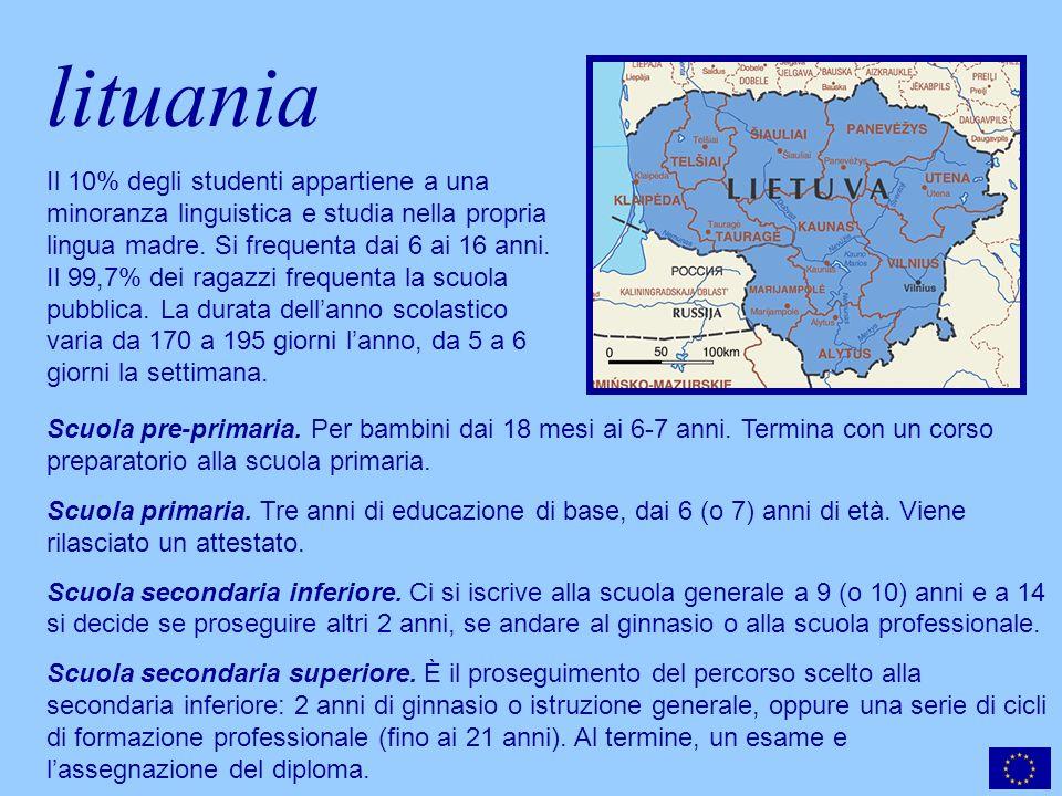 lituania Scuola pre-primaria. Per bambini dai 18 mesi ai 6-7 anni.