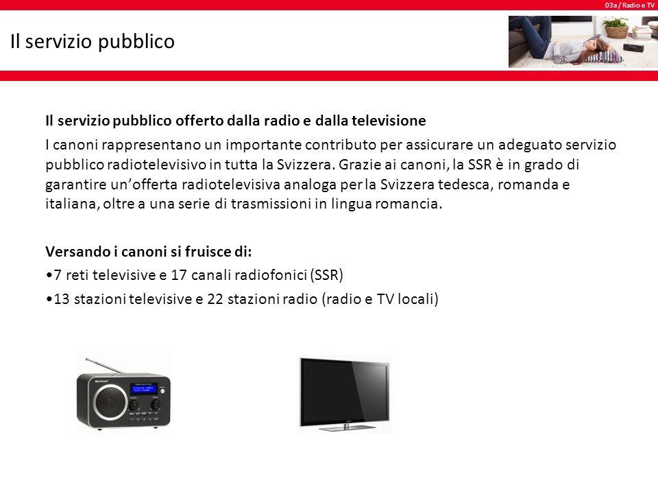 03a / Radio e TV Il servizio pubblico Il servizio pubblico offerto dalla radio e dalla televisione I canoni rappresentano un importante contributo per assicurare un adeguato servizio pubblico radiotelevisivo in tutta la Svizzera.
