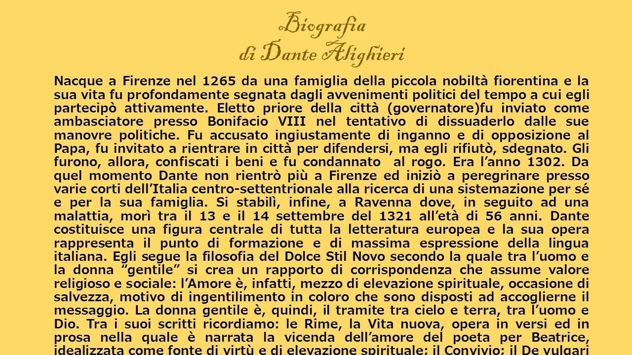 Biografia di Dante Alighieri Nacque a Firenze nel 1265 da una famiglia della piccola nobiltà fiorentina e la sua vita fu profondamente segnata dagli a