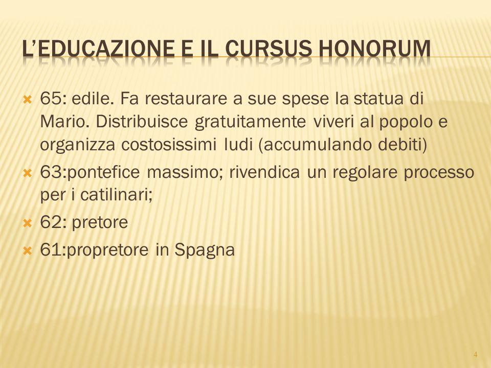  60: stringe con Pompeo e Crasso, gli uomini allora più potenti in Roma, un accordo privato che garantisce loro il controllo delle magistrature e degli incarichi militari  59:console.
