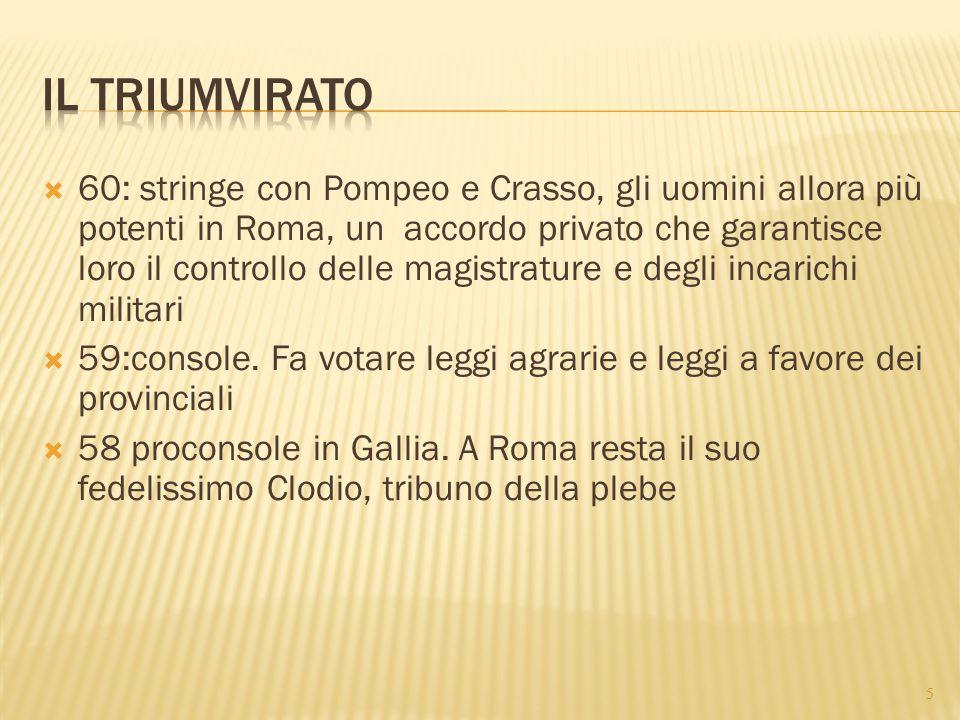  60: stringe con Pompeo e Crasso, gli uomini allora più potenti in Roma, un accordo privato che garantisce loro il controllo delle magistrature e deg