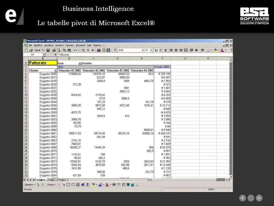 Le tabelle pivot di Microsoft Excel® Business Intelligence