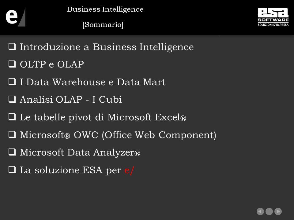 [Introduzione] Business Intelligence (sistema per il supporto decisionale) è composto principalmente da due attività principali:  Data Warehousing  Raccolta dei dati da sistemi OLTP ed altri  OLAP (on line analytical processing)  Consente l'utilizzo efficace dei data warehouse per l analisi in linea Business Intelligence