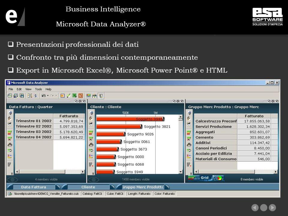Microsoft Data Analyzer®  Presentazioni professionali dei dati  Confronto tra più dimensioni contemporaneamente  Export in Microsoft Excel ®, Microsoft Power Point® e HTML Business Intelligence