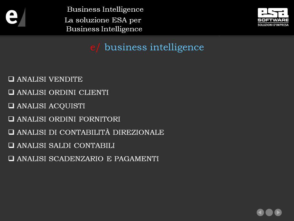 La soluzione ESA per Business Intelligence e/ business intelligence  ANALISI VENDITE  ANALISI ORDINI CLIENTI  ANALISI ACQUISTI  ANALISI ORDINI FORNITORI  ANALISI DI CONTABILITÀ DIREZIONALE  ANALISI SALDI CONTABILI  ANALISI SCADENZARIO E PAGAMENTI Business Intelligence