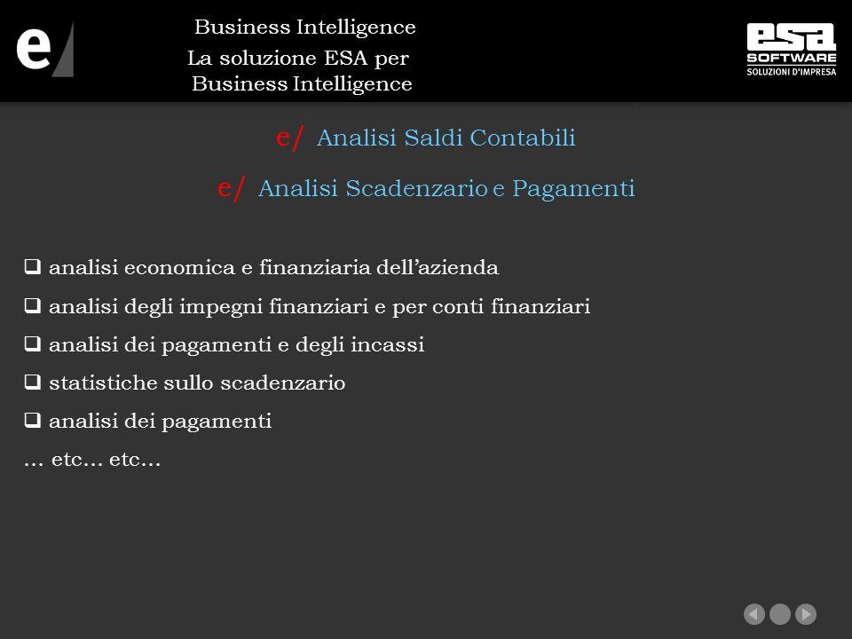 La soluzione ESA per Business Intelligence e/ Analisi Saldi Contabili e/ Analisi Scadenzario e Pagamenti  analisi economica e finanziaria dell'azienda  analisi degli impegni finanziari e per conti finanziari  analisi dei pagamenti e degli incassi  statistiche sullo scadenzario  analisi dei pagamenti … etc… etc… Business Intelligence