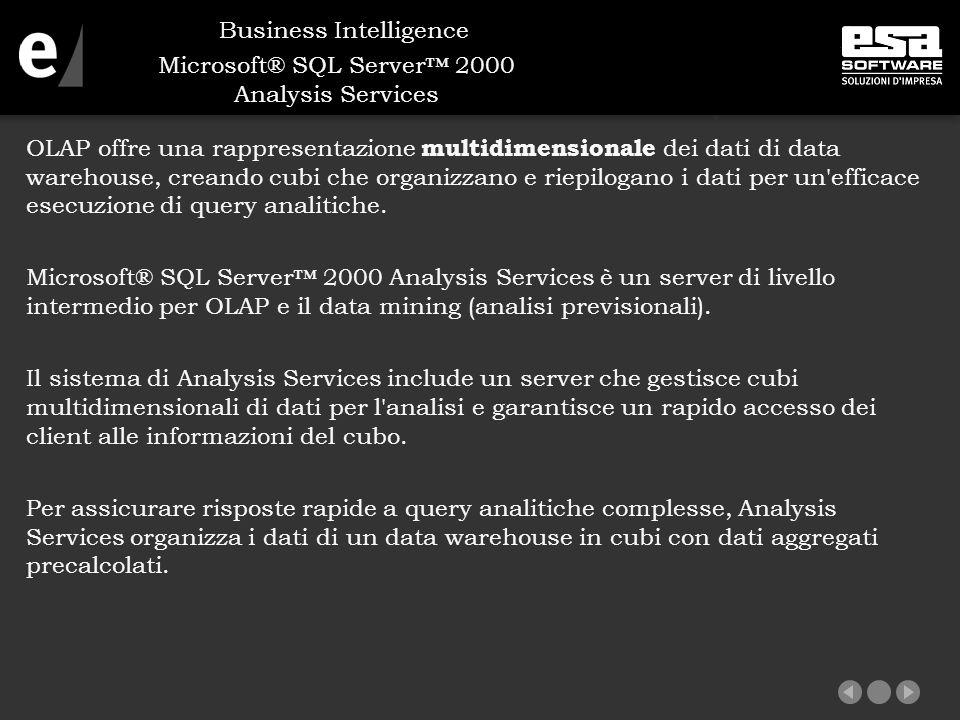 Microsoft® SQL Server™ 2000 Analysis Services OLAP offre una rappresentazione multidimensionale dei dati di data warehouse, creando cubi che organizzano e riepilogano i dati per un efficace esecuzione di query analitiche.