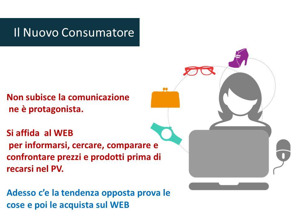 Non subisce la comunicazione ne è protagonista. Si affida al WEB per informarsi, cercare, comparare e confrontare prezzi e prodotti prima di recarsi n