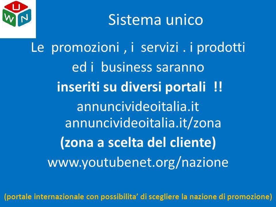 Sistema unico Le promozioni, i servizi. i prodotti ed i business saranno inseriti su diversi portali !! annuncivideoitalia.it annuncivideoitalia.it/zo