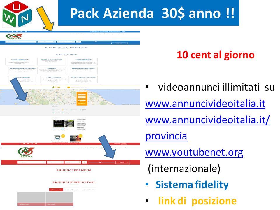 Pack Azienda 30$ anno !! 10 cent al giorno videoannunci illimitati su www.annuncivideoitalia.it www.annuncivideoitalia.it/ provincia www.youtubenet.or
