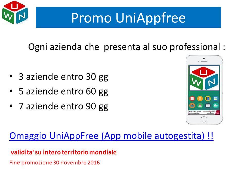 Ogni azienda che presenta al suo professional : 3 aziende entro 30 gg 5 aziende entro 60 gg 7 aziende entro 90 gg Omaggio UniAppFree (App mobile autog
