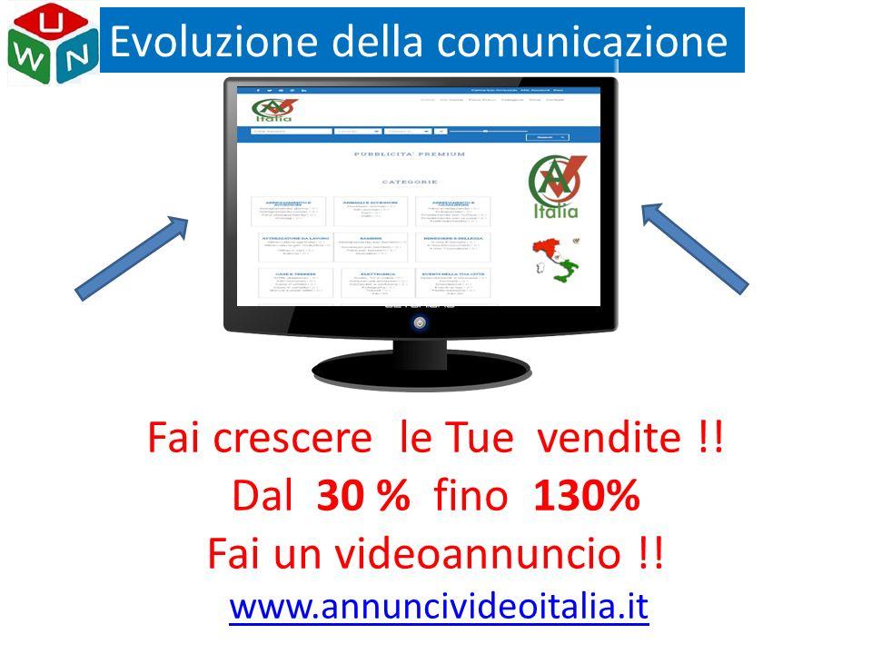 Evoluzione della comunicazione Fai crescere le Tue vendite !! Dal 30 % fino 130% Fai un videoannuncio !! www.annuncivideoitalia.it