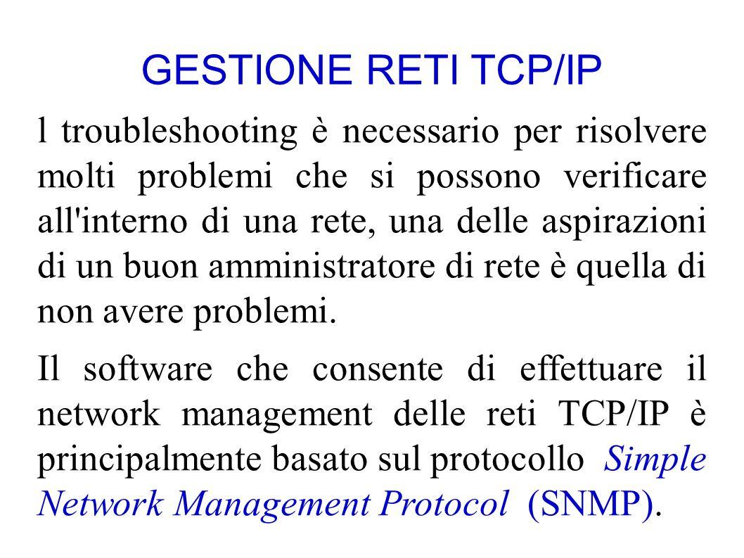 GESTIONE RETI TCP/IP l troubleshooting è necessario per risolvere molti problemi che si possono verificare all interno di una rete, una delle aspirazioni di un buon amministratore di rete è quella di non avere problemi.
