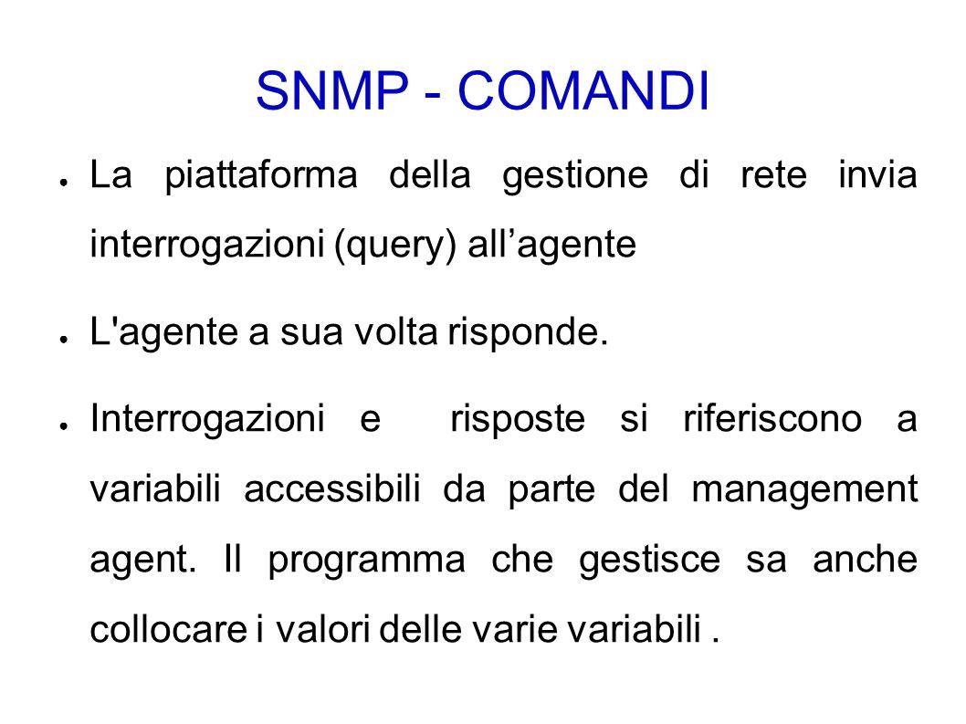 SNMP - COMANDI ● La piattaforma della gestione di rete invia interrogazioni (query) all'agente ● L agente a sua volta risponde.