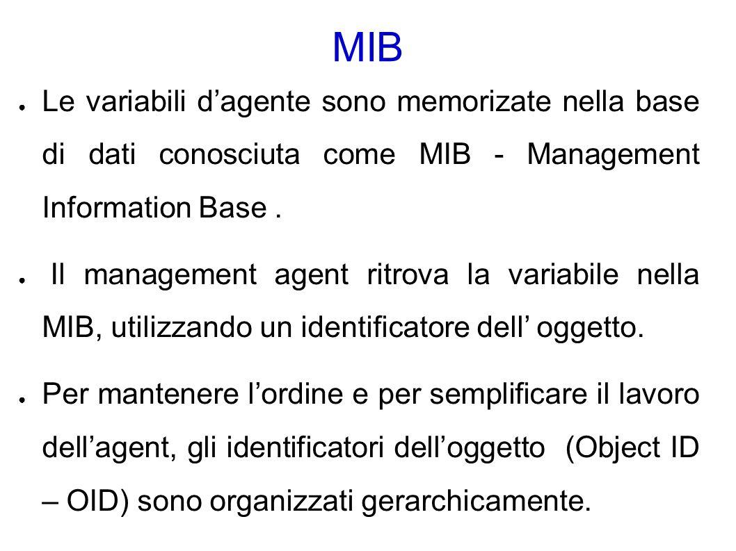 MIB ● Le variabili d'agente sono memorizate nella base di dati conosciuta come MIB - Management Information Base.