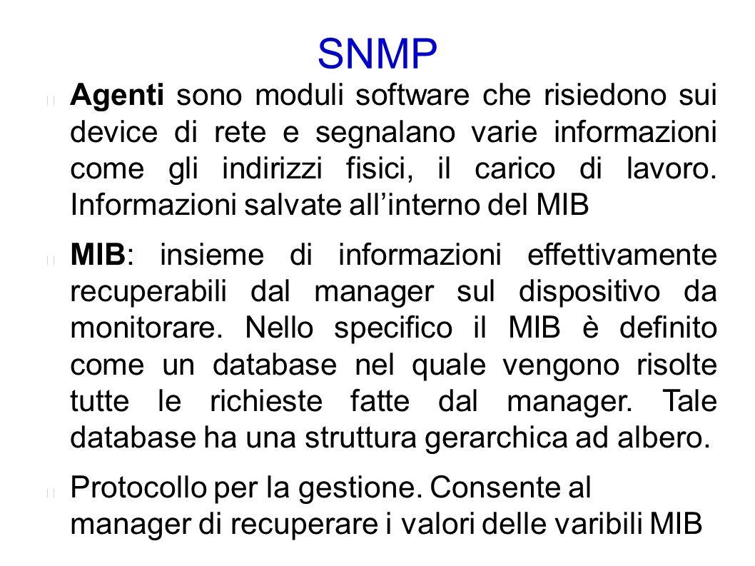 SNMP: PDU La prima versione SNMP consente 5 possibili PDU separate, cioè 5 messaggi di base per svolgere il proprio lavoro: ● GetRequest/SetRequest – è utilizzata (GetRequest) per interrogare una MIB su un agent SNMP e modificare (SetRequest) il valore all'interno di una MIB accedibile in lettura/scrittura.
