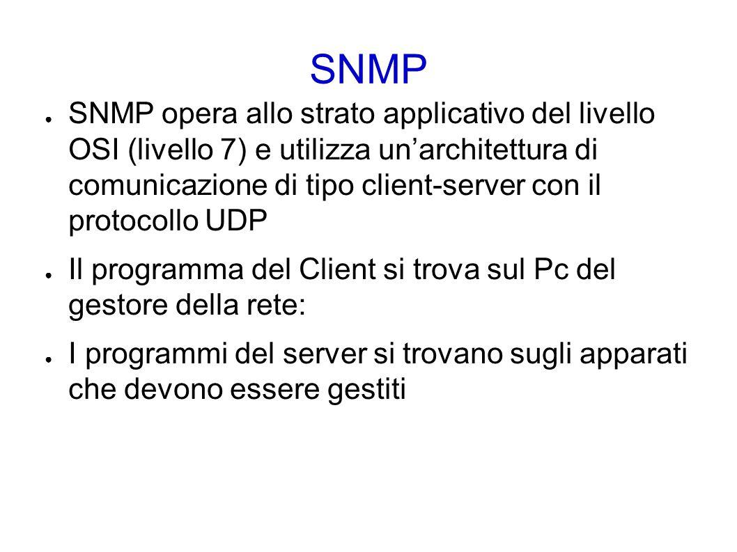 SNMP ● SNMP è un protocollo del tipo richiesta/risposta che utilizza lo User Datagram Protocol (UDP) per il trasporto dei pacchetti ● l agent rimane in ascolto sulla porta UDP 161 ● la network managemente station (NMS) rimane in ascolto anche sulla porta UDP 162 per ricevere le trap che possono essere inviate dai vari agent.