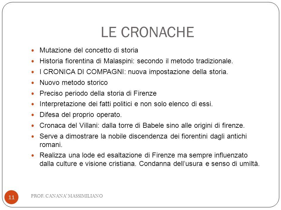 LE CRONACHE Mutazione del concetto di storia Historia fiorentina di Malaspini: secondo il metodo tradizionale. I CRONICA DI COMPAGNI: nuova impostazio
