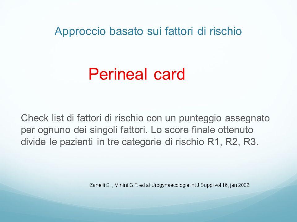 Approccio basato sui fattori di rischio Perineal card Check list di fattori di rischio con un punteggio assegnato per ognuno dei singoli fattori. Lo s