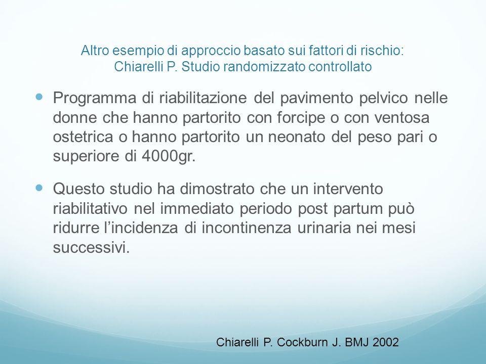Altro esempio di approccio basato sui fattori di rischio: Chiarelli P. Studio randomizzato controllato Programma di riabilitazione del pavimento pelvi