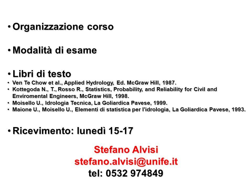 Lunedì01/10/2012Introduzione, che cos è l idrologiaCiclo idrologicoBilanci globaliConcetto di sistema Martedì02/10/2012Teorema trasporto ReynoldsEq.