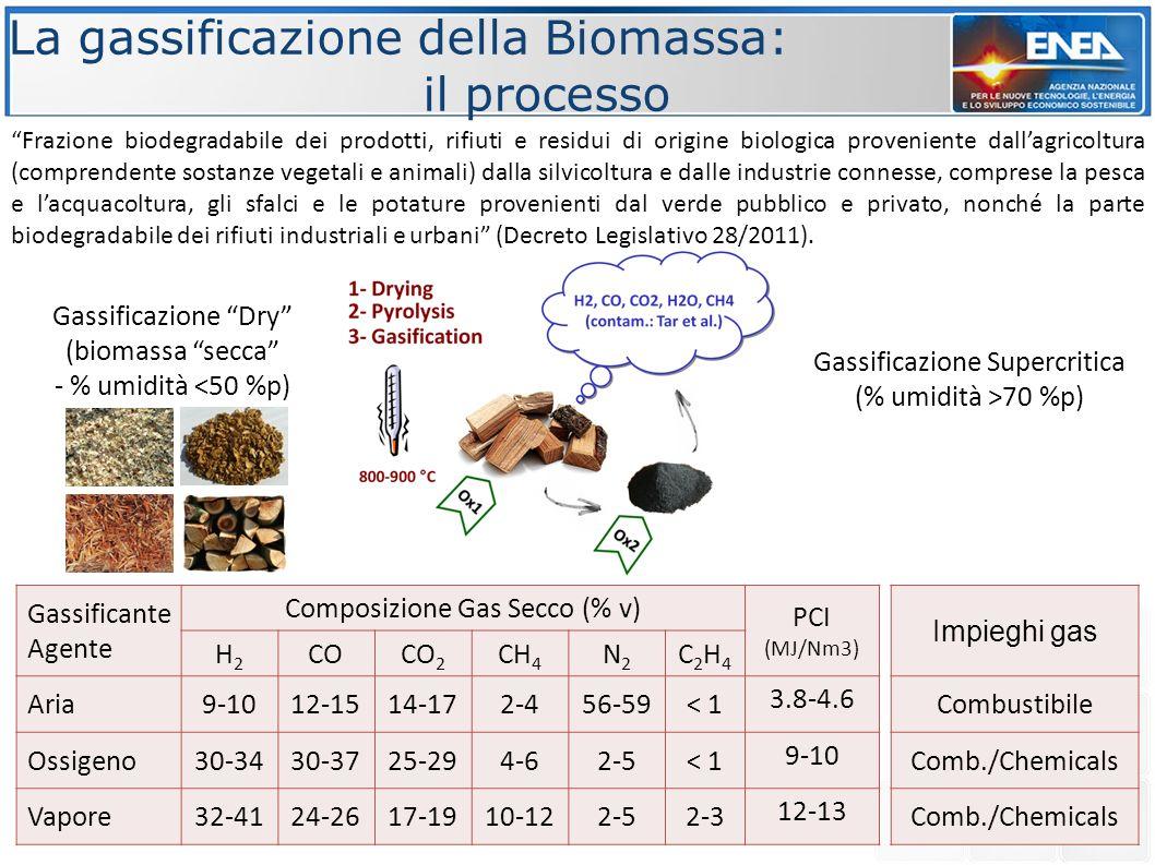 """La gassificazione della Biomassa: il processo Gassificazione """"Dry"""" (biomassa """"secca"""" - % umidità <50 %p) Gassificazione Supercritica (% umidità >70 %p"""