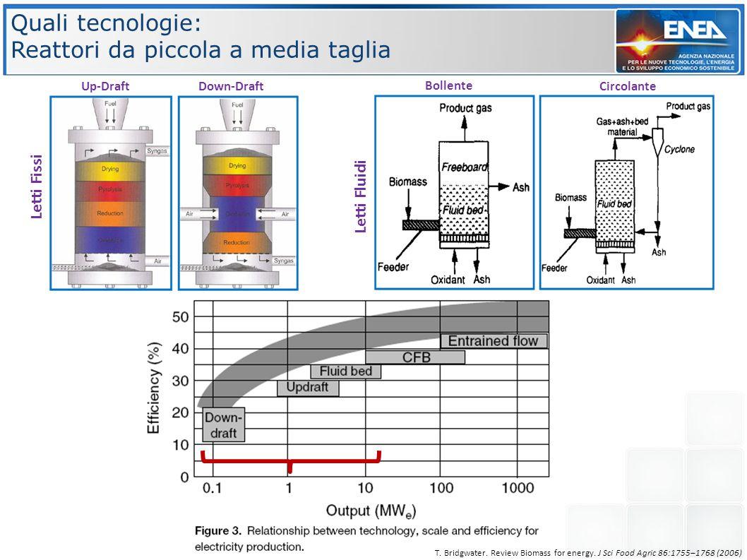 Quali tecnologie: Reattori da piccola a media taglia Letti Fluidi Bollente Circolante Letti Fissi Up-DraftDown-Draft T. Bridgwater. Review Biomass for
