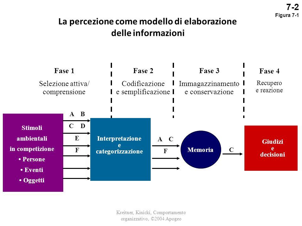 La percezione come modello di elaborazione delle informazioni Kreitner, Kinicki, Comportamento organizzativo, ©2004 Apogeo Stimoli ambientali in compe