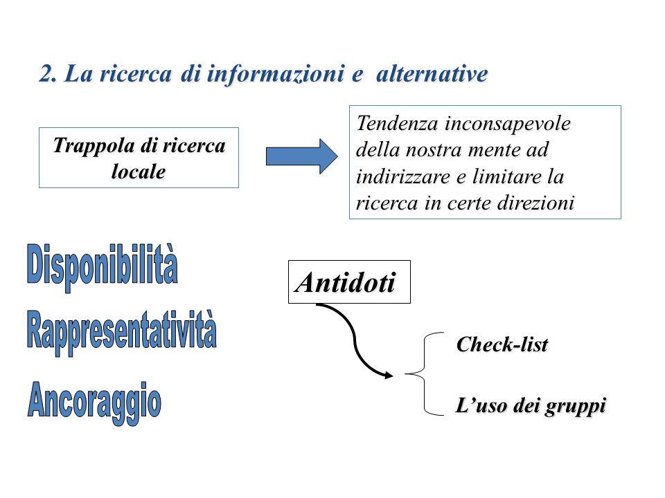 2. La ricerca di informazioni e alternative Trappola di ricerca locale Tendenza inconsapevole della nostra mente ad indirizzare e limitare la ricerca