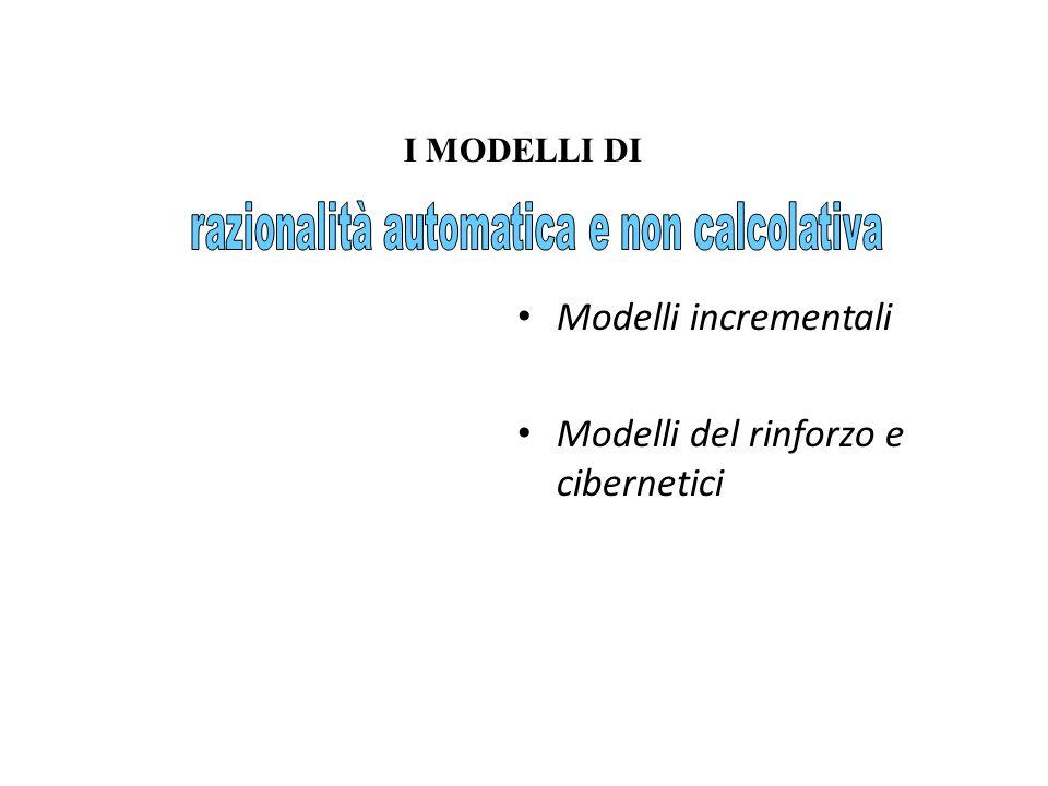Modelli incrementali Modelli del rinforzo e cibernetici I MODELLI DI