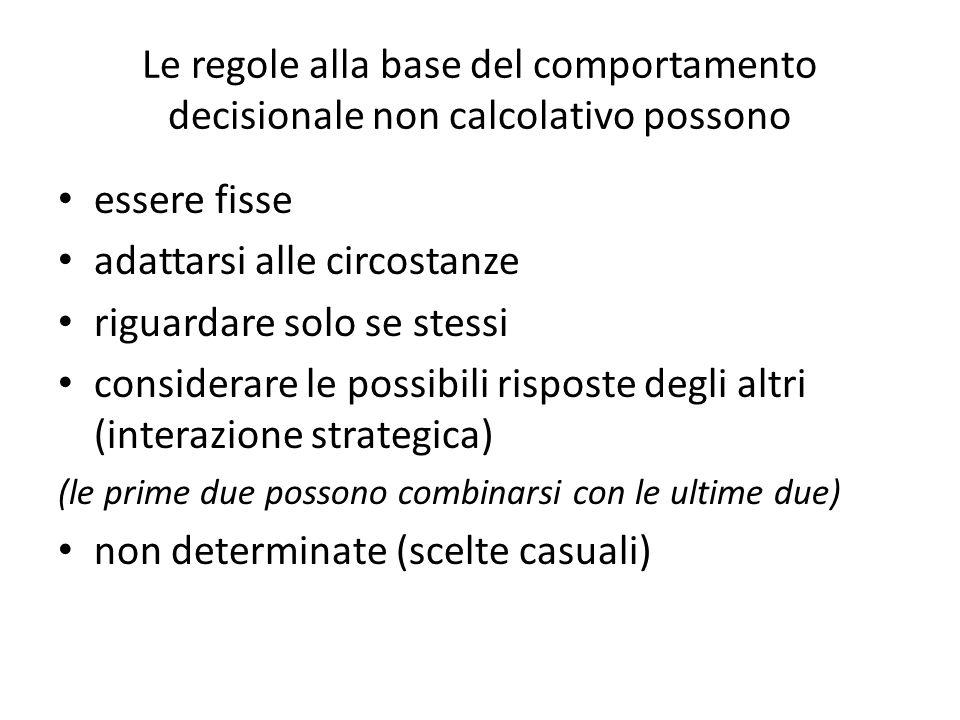 Le regole alla base del comportamento decisionale non calcolativo possono essere fisse adattarsi alle circostanze riguardare solo se stessi considerar
