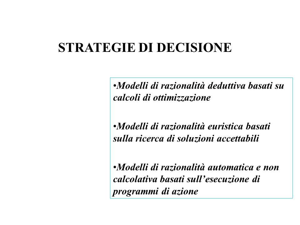 Le diverse strategie decisionali si definiscono in funzione delle diverse combinazioni delle seguenti attività cognitive fondamentali: Modalità di definizione degli obiettivi Modalità di generazione delle alternative Regole di valutazione e scelta Regole di apprendimento